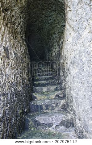 View of secret passage excavated in the rock