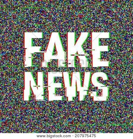 Fake News glitch text. Anaglyph 3D effect. Technological retro background. Vector illustration. Creative web template. Flyer, poster layout. Computer program, TV channel screen, broadcasting concept.