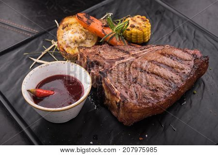 Grilled Steak Tee Bon With Spices