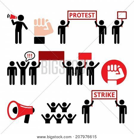 Protest design, strike, people demonstrating or fighting for their rights vector icons set