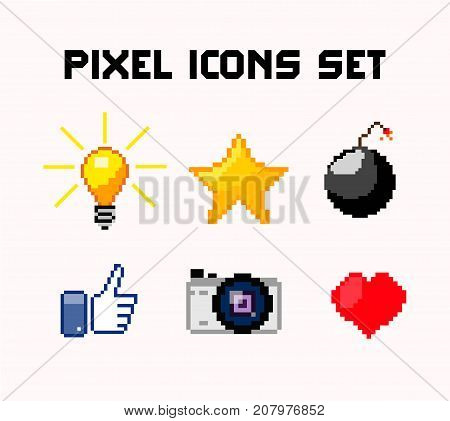 pixel icons set  light bulb heart bomb pixel 8 bit star and camera