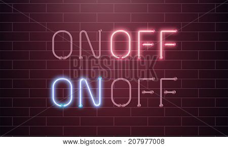 On and Off Neon light Toggle switch button. Vector illustration