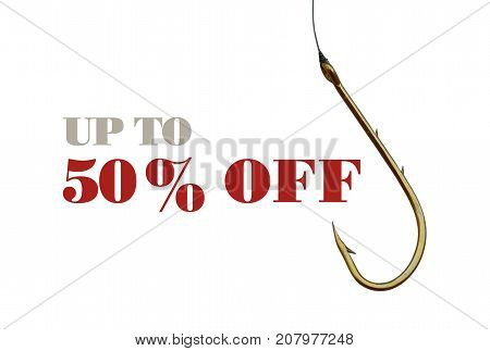 Text Fifty Percent Discount and fishing hook isolated on white background