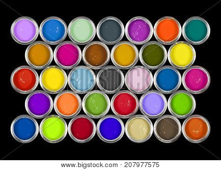 Arrangement of colourful tins of paint / ink.