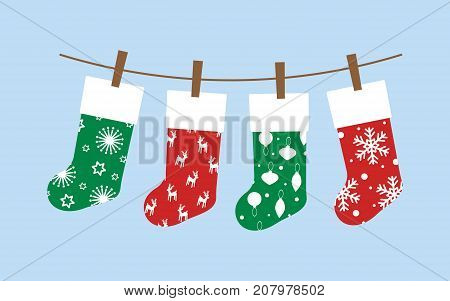 set with christmas socks colored christmas socks for gifts on a blue sky
