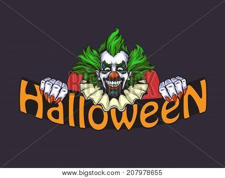 Evil Clown Halloween Illustration In Nand Drawn Style
