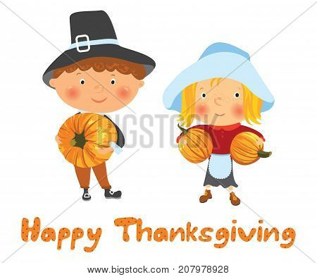 Happy Thanksgiving card, Cute cartoon girl and boy in pilgrim costume with pumkins, vector illustration