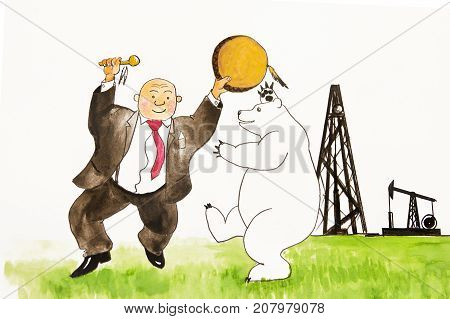 Man and polar bear dancing. Oil production. Man rejoices oil.
