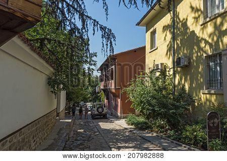 PLOVDIV, BULGARIA - SEPTEMBER 1, 2017:  Amazing view of houses in Plovdiv old town, Bulgaria