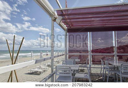 View of a beautiful pergola in a beach
