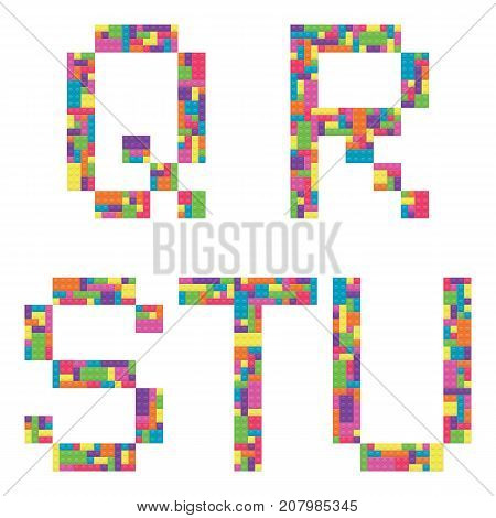 Q r s t u alphabet letters from children building block icon set vector graphic illustration