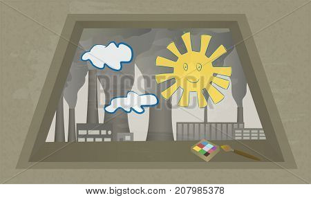 View from window at Smoking chimneys of plant. Industrial landscape. Child's drawing on glass. Vector illustration of environmental pollution. Clouds of smoke from factory chimney. Horizontal.