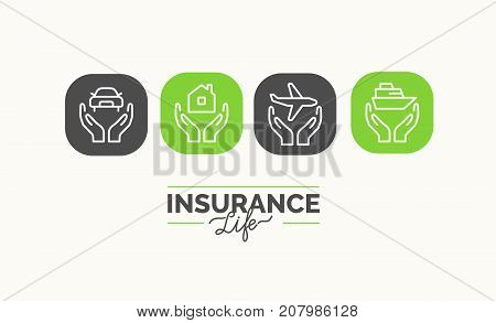 Conceptual linear icons life insurance in the journey. Vector illustration