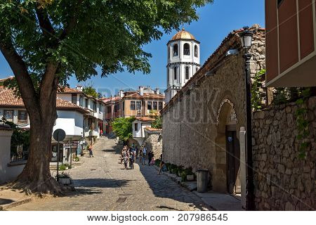 PLOVDIV, BULGARIA - SEPTEMBER 1, 2017:  St. Constantine and St. Elena church from the period of Bulgarian Revival in old town of Plovdiv, Bulgaria