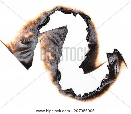 burnt hole in a paper . Photos in the studio