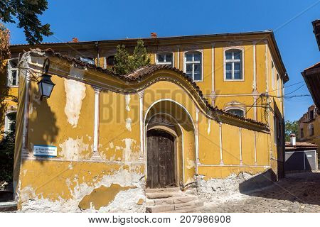 PLOVDIV, BULGARIA - SEPTEMBER 1, 2017:  Amazing view of Street and houses in Plovdiv old town, Bulgaria