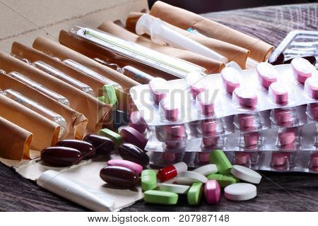 drugs and medicine pills as part of health