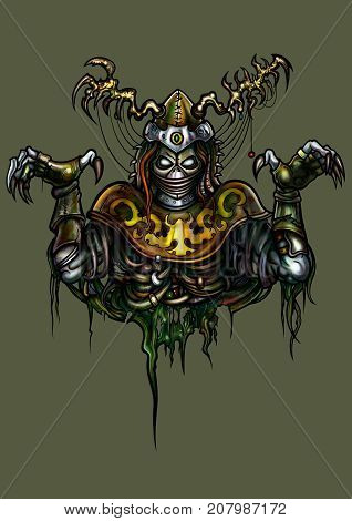 Illustration fantasy undead warlock in horned helmet and pagan outfit