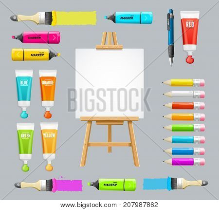 Board Easel Blank Empty and Colorful Painting Accessories Set Instrument for Craft or Hobby Include of Paintbrush, Tube and Pencil. Vector illustration