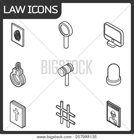 Law outline isometric icons. Vector illustration, EPS 10