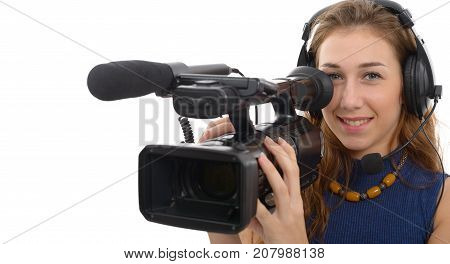young woman with a camcorder isolated on white background
