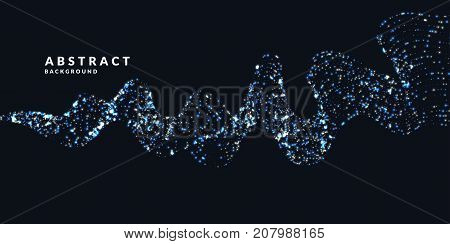 Vector abstract background with a colored dynamic particles. Vector Illustration waveform.