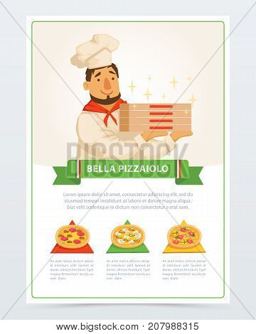 Cartoon character of italian pizzaiolo holding pizza boxes. Different ingredients mozzarella cheese, sausage pepperoni, mushrooms, olives, shrimps and tomatoes . Flat vector elements for cafe menu.