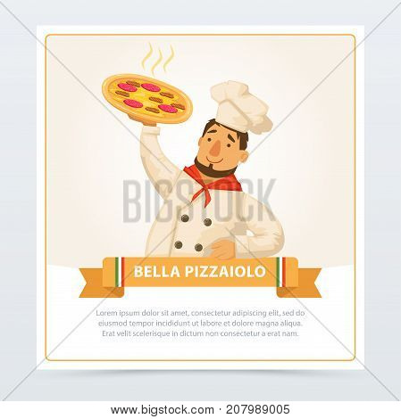 Cartoon character of italian pizzaiolo holding delicious hot pepperoni pizza. Italy traditional meal. Popular street food. Flat element for restaurant or cafe menu. Man in chef hat. Vector isolated.