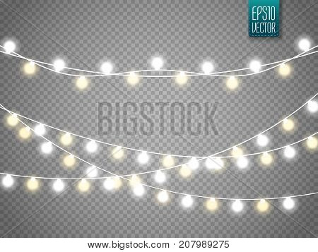 Christmas lights isolated on transparent background. Set of xmas glowing garland. Vector illustration