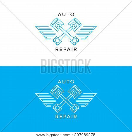 Auto repair logo set line style isolated on background for auto service shop, car fix, market. Stamps, banners, labels, logotype, emblem and design elements for you business. Vector illustration