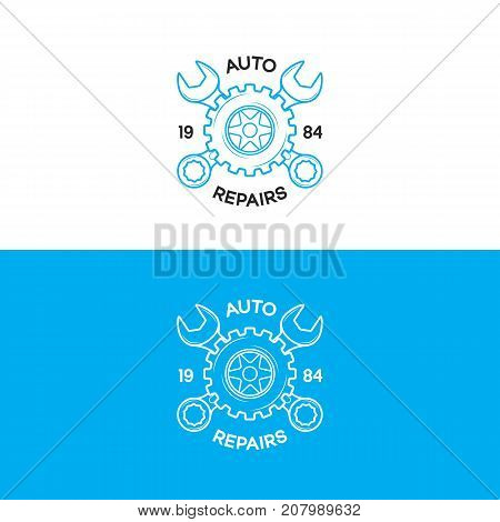 Auto repairs logo set with gear and wrench line style isolated on background for auto service shop, car fix, market. Stamps, banners, labels, logotype, emblem and design elements. Vector illustration