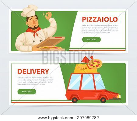 Pizzeria banner template. Italian pizzaiolo holding pepperoni pizza. Delivery service car. Italy traditional meal. Popular street food. Flat vector element for website or mobile app. Man in chef hat.