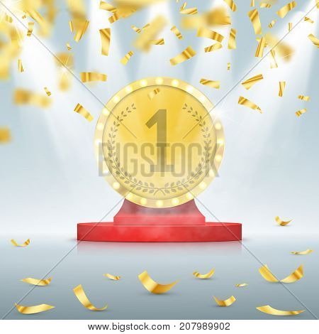 Winner background. First place of competition. Podium with spotlights and confetti. Vector concept
