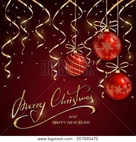 Red Christmas balls with golden streamers and confetti on holiday background with lettering Merry Christmas and Happy New Year, illustration.