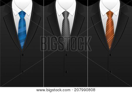 Business Card Elegance Color Tuxedo Tie or Necktie Vecrtical Set Design for Banner, Postcard, Poster, Brochure or Flyer. Vector illustration