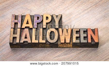 Happy Halloween banner - typography in vintage letterpress wood type