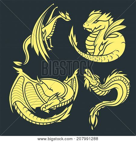 Chinese dragon silhouettes tattoo mythology tail monster magic icon asian art vector illustration. Medieval fantasy animal mystic symbol vector set.