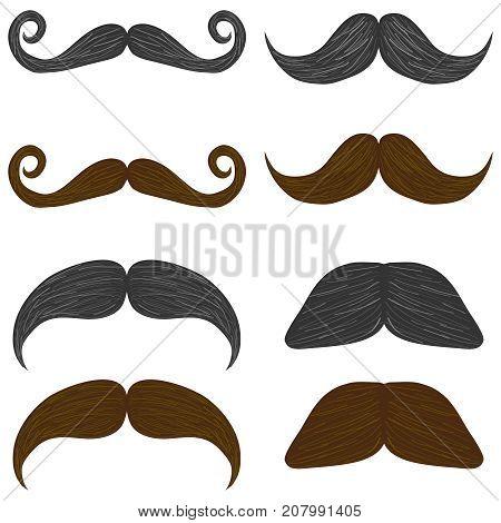 Mustache set of man's mustache. Flat design vector illustration vector.