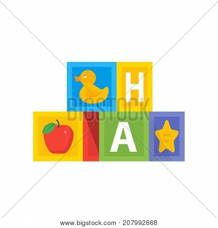 Colored Baby Cube Wit Abc Alphabet. Kids Toys Vector Illustration