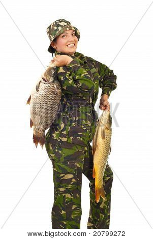 Proud Fisherwoman With Big Carps