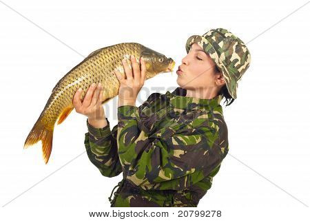 Fisher Woman Kissing The Big Fish