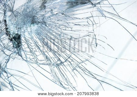 Close up detail Broken Windshield In Car Accident abstract style