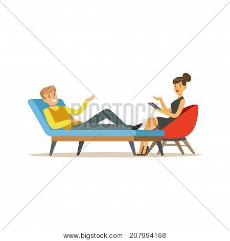 Smiling male patient character talking to female psychologist about problems, psychotherapy counseling, psychologist having session with patient vector Illustration isolated on a white background