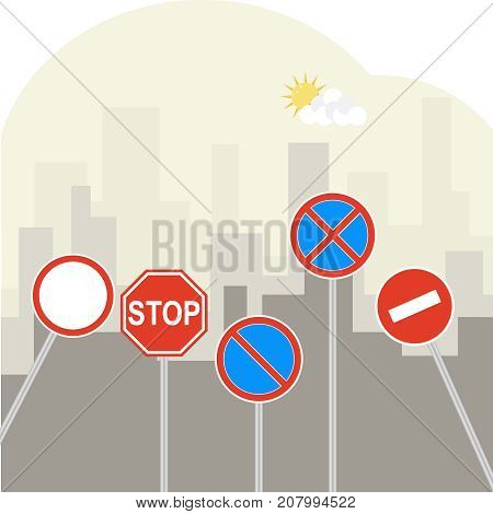 Road Signs On A Background Of A City Landscape. Prohibiting Road Signs.