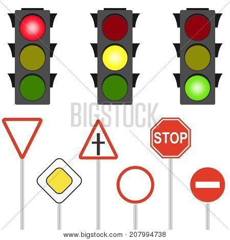 Road Signs And Traffic Lights. A Flashing Traffic Light.