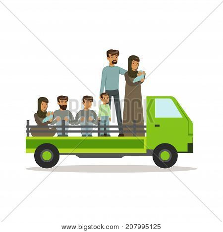 Stateless refugees on a truck trying to cross country border, illegal migration, war victims concept vector Illustration isolated on a white background