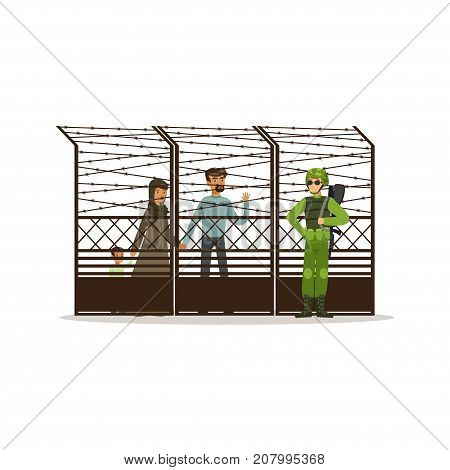Stateless refugee family facing the barbed wire fence, refugee camp, war victims concept vector Illustration isolated on a white background