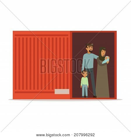 Stateless refugee family standing in cargo container, illegal migration, war victims concept vector Illustration isolated on a white background