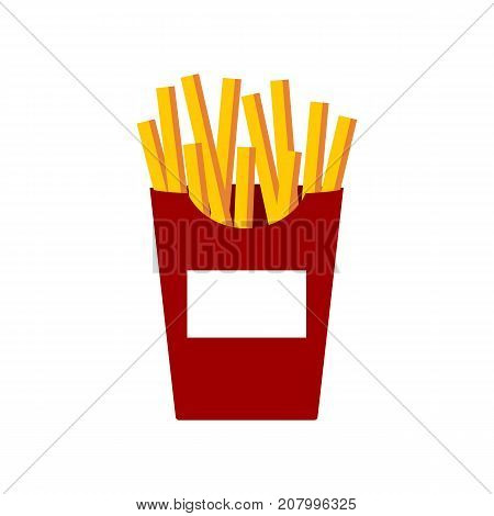 French fries vector illustration flat cartoon style french-fried potatoes in paper box isolated fried potato on white background