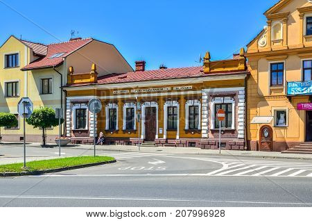 WILAMOWICE POLAND - AUGUST 5 2017: Market in the small beautiful town of Wilamowice in Poland.